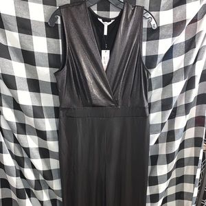 NWT BCBG metallic bLack jumpsuit size large